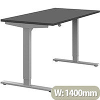 Zoom Height Adjustable Sit Stand Office Desk Plain Top W1400mmxD700mmxH685-1185mm Graphite Top Silver Frame - Prevents & Reduces Muscle & Back Problems, Poor Circulation & Increases Brain Activity.