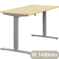 Zoom Height Adjustable Sit Stand Office Desk Plain Top W1400mmxD700mmxH685-1185mm Maple Top Silver Frame - Prevents & Reduces Muscle & Back Problems, Poor Circulation & Increases Brain Activity.