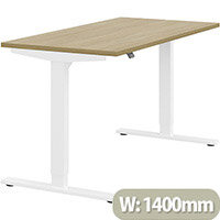 Zoom Height Adjustable Sit Stand Office Desk Plain Top W1400mmxD700mmxH685-1185mm Urban oak Top White Frame - Prevents & Reduces Muscle & Back Problems, Poor Circulation & Increases Brain Activity.
