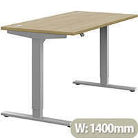 Zoom Electric Height Adjustable Sit Stand Office Desk Portal Top W1400mmxD700mmxH685-1185mm Urban Oak Top Silver Frame - Prevents & Reduces Muscle & Back Problems, Poor Circulation & Increases Brain Activity.