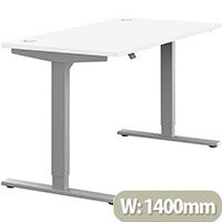 Zoom Electric Height Adjustable Sit Stand Office Desk Portal Top W1400mmxD700mmxH685-1185mm White Top Silver Frame - Prevents & Reduces Muscle & Back Problems, Poor Circulation & Increases Brain Activity.