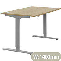 Zoom Electric Height Adjustable Sit Stand Office Desk Portal Top W1400mmxD800mmxH685-1185mm Urban Oak Top Silver Frame - Prevents & Reduces Muscle & Back Problems, Poor Circulation & Increases Brain Activity.