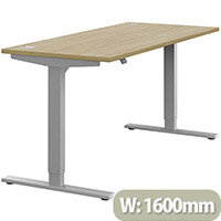 Zoom Electric Height Adjustable Sit Stand Office Desk Portal Top W1600mmxD700mmxH685-1185mm Urban oak Top Silver Frame - Prevents & Reduces Muscle & Back Problems, Poor Circulation & Increases Brain Activity.