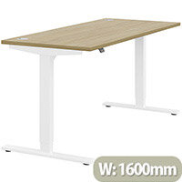 Zoom Electric Height Adjustable Sit Stand Office Desk Portal Top W1600mmxD700mmxH685-1185mm Urban oak Top White Frame - Prevents & Reduces Muscle & Back Problems, Poor Circulation & Increases Brain Activity.
