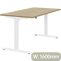 Zoom Electric Height Adjustable Sit Stand Office Desk Portal Top W1600mmxD800mmxH685-1185mm Urban oak Top White Frame - Prevents & Reduces Muscle & Back Problems, Poor Circulation & Increases Brain Activity.