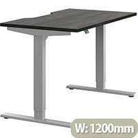 Zoom Electric Height Adjustable Sit Stand Office Desk Dual Purpose Reversible Scallop Top W1200mmxD700mmxH685-1185mm Harbour Oak Top Silver Frame - Prevents & Reduces Muscle & Back Problems, Poor Circulation & Increases Brain Activity.