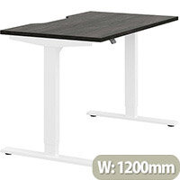 Zoom Electric Height Adjustable Sit Stand Office Desk Dual Purpose Reversible Scallop Top W1200mmxD700mmxH685-1185mm Harbour Oak Top White Frame - Prevents & Reduces Muscle & Back Problems, Poor Circulation & Increases Brain Activity.