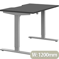 Zoom Electric Height Adjustable Sit Stand Office Desk Dual Purpose Reversible Scallop Top W1200mmxD700mmxH685-1185mm Graphite Top Silver Frame - Prevents & Reduces Muscle & Back Problems, Poor Circulation & Increases Brain Activity.