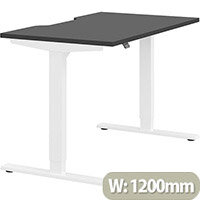 Zoom Electric Height Adjustable Sit Stand Office Desk Dual Purpose Reversible Scallop Top W1200mmxD700mmxH685-1185mm Graphite Top White Frame - Prevents & Reduces Muscle & Back Problems, Poor Circulation & Increases Brain Activity.