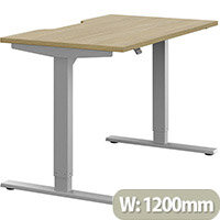 Zoom Electric Height Adjustable Sit Stand Office Desk Dual Purpose Reversible Scallop Top W1200mmxD700mmxH685-1185mm Urban Oak Top Silver Frame - Prevents & Reduces Muscle & Back Problems, Poor Circulation & Increases Brain Activity.