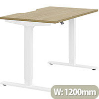 Zoom Electric Height Adjustable Sit Stand Office Desk Dual Purpose Reversible Scallop Top W1200mmxD700mmxH685-1185mm Urban oak Top White Frame - Prevents & Reduces Muscle & Back Problems, Poor Circulation & Increases Brain Activity.