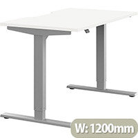 Zoom Electric Height Adjustable Sit Stand Office Desk Dual Purpose Reversible Scallop Top W1200mmxD700mmxH685-1185mm White Top Silver Frame - Prevents & Reduces Muscle & Back Problems, Poor Circulation & Increases Brain Activity.