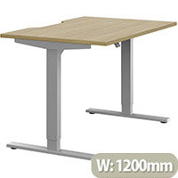 Zoom Electric Height Adjustable Sit Stand Office Desk Dual Purpose Reversible Scallop Top W1200mmxD800mmxH685-1185mm Urban Oak Top Silver Frame - Prevents & Reduces Muscle & Back Problems, Poor Circulation & Increases Brain Activity.