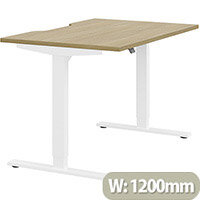 Zoom Electric Height Adjustable Sit Stand Office Desk Dual Purpose Reversible Scallop Top W1200mmxD800mmxH685-1185mm Urban oak Top White Frame - Prevents & Reduces Muscle & Back Problems, Poor Circulation & Increases Brain Activity.