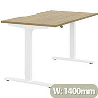 Zoom Height Adjustable Sit Stand Office Desk Scallop Top W1400mmxD800mmxH685-1185mm Urban oak Top White Frame - Prevents & Reduces Muscle & Back Problems, Poor Circulation & Increases Brain Activity.