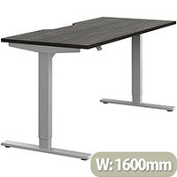Zoom Electric Height Adjustable Sit Stand Office Desk Dual Purpose Reversible Scallop Top W1600mmxD700mmxH685-1185mm Harbour Oak Top Silver Frame - Prevents & Reduces Muscle & Back Problems, Poor Circulation & Increases Brain Activity.