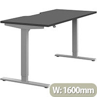 Zoom Electric Height Adjustable Sit Stand Office Desk Dual Purpose Reversible Scallop Top W1600mmxD700mmxH685-1185mm Graphite Top Silver Frame - Prevents & Reduces Muscle & Back Problems, Poor Circulation & Increases Brain Activity.