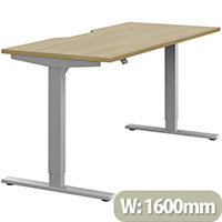 Zoom Electric Height Adjustable Sit Stand Office Desk Dual Purpose Reversible Scallop Top W1600mmxD700mmxH685-1185mm Urban Oak Top Silver Frame - Prevents & Reduces Muscle & Back Problems, Poor Circulation & Increases Brain Activity.