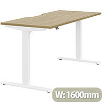 Zoom Electric Height Adjustable Sit Stand Office Desk Dual Purpose Reversible Scallop Top W1600mmxD700mmxH685-1185mm Urban oak Top White Frame - Prevents & Reduces Muscle & Back Problems, Poor Circulation & Increases Brain Activity.