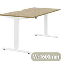 Zoom Height Adjustable Sit Stand Office Desk Scallop Top W1600mmxD800mmxH685-1185mm Urban oak Top White Frame - Prevents & Reduces Muscle & Back Problems, Poor Circulation & Increases Brain Activity.