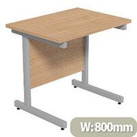 Cantilever Rectangular Return Office Desk Silver Legs W800xD600xH725mm Beech Ashford