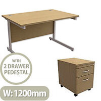 Office Desk Rectangular Silver Legs W1200mm With Mobile 2-Drawer Pedestal Urban Oak Ashford  – Cantilever Desk & Extra Storage , 25 Year Warranty