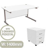 Office Desk Rectangular Silver Legs W1400mm With Mobile 3-Drawer Pedestal White Ashford