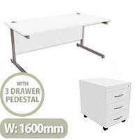 Office Desk Rectangular Silver Legs W1600mm With Mobile 3-Drawer Pedestal White Ashford