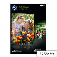 HP Everyday Photo Paper - Glossy - 8 mil - A4 (210 x 297 mm) - 200 g/m² - 25 sheet(s) photo paper - for Envy 5055, 7645; Officejet 5255, 6000 E609, 76XX; PageWide MFP 377; PageWide Pro 452