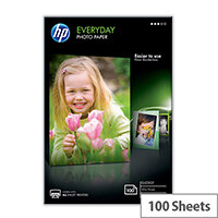 HP Everyday Photo Paper - Glossy - 8 mil - 100 x 150 mm - 200 g/m² - 100 sheet(s) photo paper - for Envy 5055, 7645; Officejet 5255, 7610, 7612; PageWide MFP 377dw; PageWide Pro 452dwt