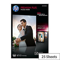 HP Premium Plus Photo Paper - Glossy - 100 x 150 mm - 300 g/m² - 25 sheet(s) photo paper - for Envy 5055, 7645; Officejet 5255, 76XX; PageWide MFP 377; PageWide Pro 452; Photosmart 5525