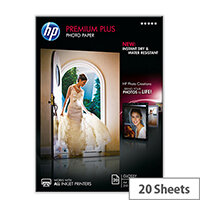 HP Premium Plus Photo Paper - Glossy - A4 (210 x 297 mm) - 300 g/m² - 20 sheet(s) photo paper - for Envy 5055, 7645; Officejet 5255, 76XX; PageWide MFP 377; PageWide Pro 452; Photosmart 5525