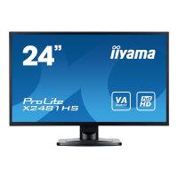 "Iiyama ProLite X2481HS-B1 - LED Computer Monitor - 24"" (23.6"" viewable) - 1920 x 1080 Full HD (1080p) - VA - 250 cd/m² - 3000:1 - 6 ms - HDMI, DVI-D, VGA - speakers - black"