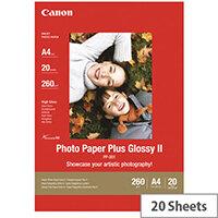 Canon Photo Paper Plus Glossy II PP-201 - Glossy - A3 (297 x 420 mm) 20 sheet(s) photo paper - for PIXMA iX4000, iX5000, iX7000, PRO-1, PRO-10, PRO-100, Pro9000, Pro9500
