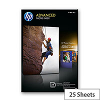 HP Advanced Glossy Photo Paper - Glossy - 100 x 150 mm - 250 g/m² - 25 sheet(s) photo paper - for Envy 5055, 7645; Ink Tank 319; Officejet 5255, 6000 E609, 7500; PageWide MFP 377