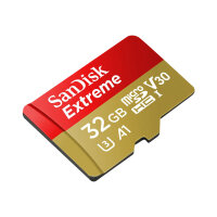 SanDisk Extreme - Flash memory card (microSDHC to SD adapter included) - 32 GB - A1 / Video Class V30 / UHS-I U3 - microSDHC UHS-I