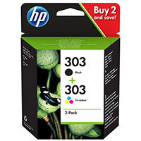 HP 303 Combo Pack - 2-pack - black, dye-based tricolour - original - ink cartridge - for Envy Photo 6220, Photo 6230, Photo 7130, Photo 7134, Photo 7830; Tango