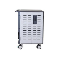 """Ergotron Zip40 Charging Cart - Cart (charge only) for 40 tablets / notebooks - lockable - steel - grey, white - screen size: up to 15.6"""""""