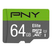 PNY Elite - Flash memory card - 64 GB - UHS-I U1 / Class10 - microSDXC UHS-I