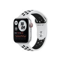 Apple Watch Nike SE (GPS + Cellular) - 44 mm - silver aluminium - smart watch with Nike sport band - fluoroelastomer - pure platinum/black - band size 140-210 mm - S/M/L - 32 GB - Wi-Fi, Bluetooth - 4G - 36.36 g