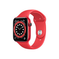 Apple Watch Series 6 (GPS + Cellular) - (PRODUCT) RED - 44 mm - red aluminium - smart watch with sport band - fluoroelastomer - red - band size 140-210 mm - S/M/L - 32 GB - Wi-Fi, Bluetooth - 4G - 36.5 g