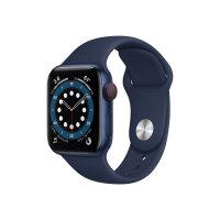 Apple Watch Series 6 (GPS + Cellular) - 40 mm - blue aluminium - smart watch with sport band - fluoroelastomer - deep navy - band size 130-200 mm - S/M/L - 32 GB - Wi-Fi, Bluetooth - 4G - 30.5 g
