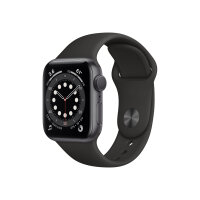 Apple Watch Series 6 (GPS + Cellular) - 40 mm - graphite stainless steel - smart watch with sport band - fluoroelastomer - black - band size 130-200 mm - S/M/L - 32 GB - Wi-Fi, Bluetooth - 4G - 39.7 g
