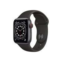 Apple Watch Series 6 (GPS + Cellular) - 40 mm - space grey aluminium - smart watch with sport band - fluoroelastomer - black - band size 130-200 mm - S/M/L - 32 GB - Wi-Fi, Bluetooth - 4G - 30.5 g
