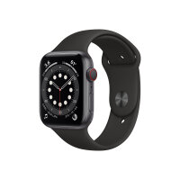 Apple Watch Series 6 (GPS + Cellular) - 44 mm - space grey aluminium - smart watch with sport band - fluoroelastomer - black - band size 140-210 mm - S/M/L - 32 GB - Wi-Fi, Bluetooth - 4G - 36.5 g