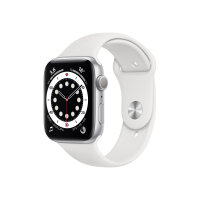 Apple Watch Series 6 (GPS) - 44 mm - silver aluminium - smart watch with sport band - fluoroelastomer - white - band size 140-210 mm - S/M/L - 32 GB - Wi-Fi, Bluetooth - 36.5 g