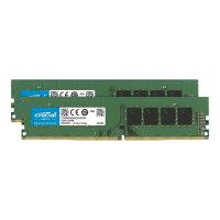 Crucial - DDR4 - 32 GB Kit : 2 x 16 GB - DIMM 288-pin - 2666 MHz / PC4-21300 - CL19 - 1.2 V - unbuffered - non-ECC