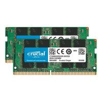 Crucial - DDR4 - 32 GB Kit : 2 x 16 GB - SO-DIMM 260-pin - 2666 MHz / PC4-21300 - CL19 - 1.2 V - unbuffered - non-ECC