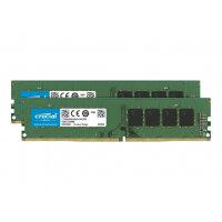 Crucial - DDR4 - 64 GB Kit : 2 x 32 GB - DIMM 288-pin - 2666 MHz / PC4-21300 - CL19 - 1.2 V - unbuffered - non-ECC