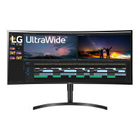 "LG 38WN75C - LED monitor - curved - 38"" - 3840 x 1600 UWQHD+ - IPS - 300 cd/m² - 5 ms - 2xHDMI, DisplayPort"